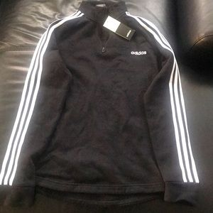 Adidas neck zip sweater with 3-stripe sleeves